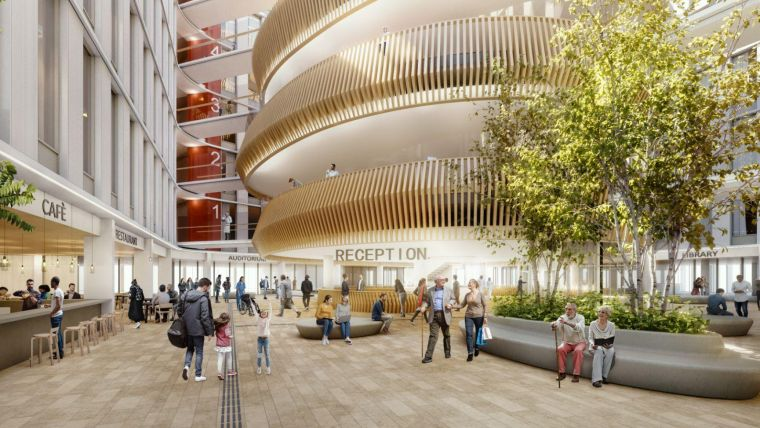 Internal view of the proposed Oriel site, including groups of people inside a spacious atrium with a cafe and greenery