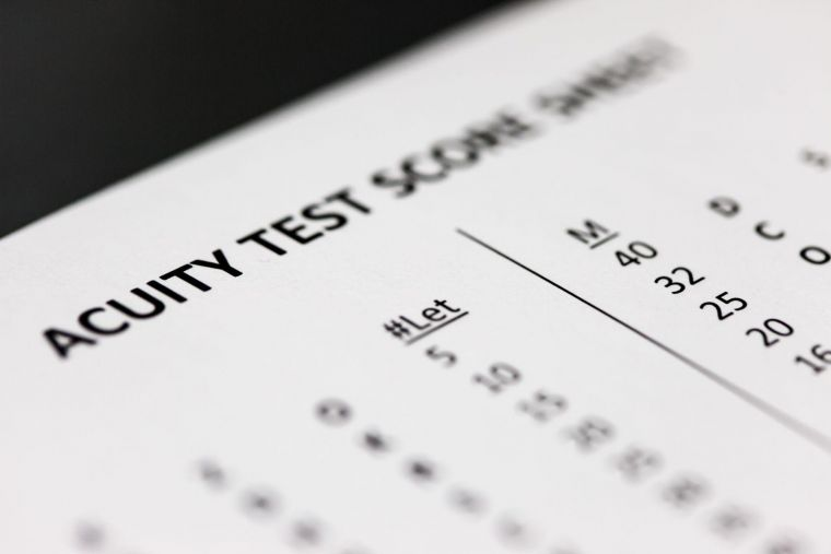 a close-up of an acuity test score sheet